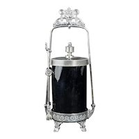 Victorian Silver Plate Pickle Castor by Rogers with Amethyst Glass Circa 1870