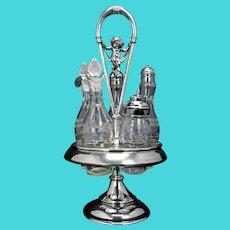 Victorian Meriden Silver Plate Kate Greenaway Style Revolving Condiment Set