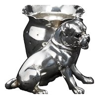 Victorian Silver Plate Bulldog Figural Toothpick Holder by Derby Late 19th Century