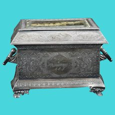 Gothic Revival Victorian Silverplate Jewelry Casket James Tufts 19th Century