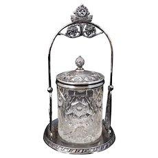 Victorian Silverplate Jam Jar with birds 19th Century