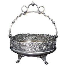 Victorian Derby Silver Plate Cake Basket Circa 1870
