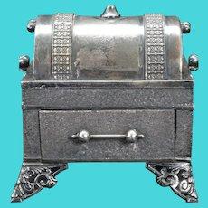 Victorian Webster Jewelry Casket Silverplate 19th Century