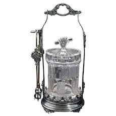 Victorian Pickle Caster Rockford Silverplate with EAPG Jar 19th Century