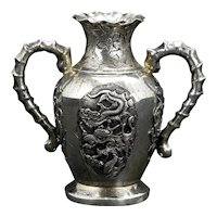 Small Late Qing Chinese 800 Silver Dragon Vase c 1900