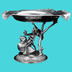 Victorian Middletown Silver Plate Water Nymph Riding Duckling Card Receiver Circa 1870