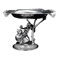 Victorian Silver Plate Water Nymph Riding Duckling Card Receiver by Middletown Circa 1870