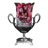 Aesthetic Movement Victorian Tufts Silver Plate Celery with Cranberry Flash Glass Insert 19th Century