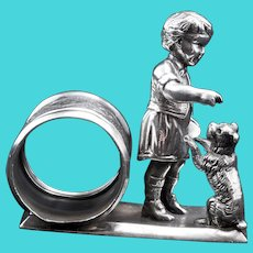 Victorian Child with Begging Dog Napkin Ring by Meriden Circa 1870