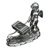 Victorian Cherub with Cart Silverplate Match Holder Late 19th Century