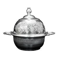 Victorian Silver Plate Floral Butter Dish by Rockford Circa 1870