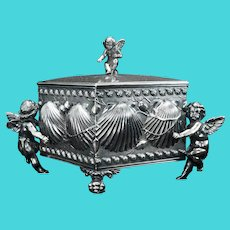 Victorian James Tufts Silverplate Jewelry Casket with Cupids Circa 1870