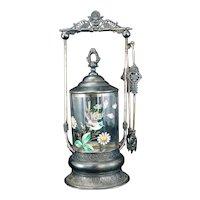 Victorian Deschauer Silver Plate Pickle Caster Enameled Glass Jar