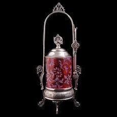 Pairpoint silver plate pickle castor with cranberry glass jar circa 1880 - Red Tag Sale Item
