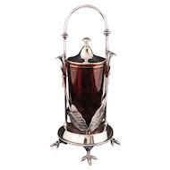 Victorian silver plate jam jar holder with ruby glass insert by Rogers Smith and Co. circa 1870