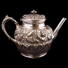 Antique Victorian silver plate ornate foliage and flower teapot by Hartford circa 1880 - Red Tag Sale Item