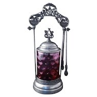 Brooklyn Victorian silver plate pickle castor with cranberry glass insert late 19th century