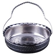 Small Victorian James Tufts silver plate basket with lady's profile late 19th century