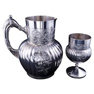 Victorian silver plate pitcher and matching goblet Webster & Son - late 19th century