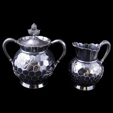 Aesthetic movement Victorian silver plate sugar and creamer set Beehive design by Rogers circa 1870