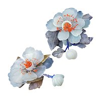 Vintage matched pair of Chinese stone peonies with bead-tipped stamens early 20th century