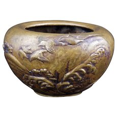 Japanese bronze censer with birds flying over waves circa 1900