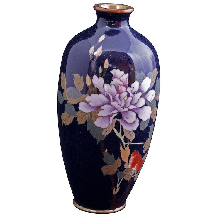 Small Japanese Cloisonn Vase With Peony Design Early 20th Century