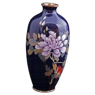 Small Japanese cloisonné vase with peony design early 20th century
