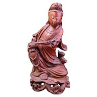 Vintage Chinese rosewood carving of seated Guan Yin early 20th century