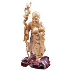 Chinese Fukienese boxwood carving of Shao Lao the immortal early 20th century