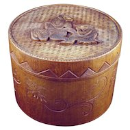 Japanese vintage wood carved lidded cylindrical box or humidor with three monkeys early 20th century