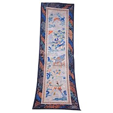Chinese silk sleeve band embroidery with garden scenes circa 1920