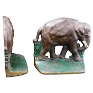 Cast iron elephant bookends circa 1920