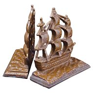 """U.S. Constitution cast iron bookends """"Old Ironsides"""" 1927"""
