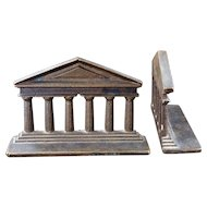 Heavy bronze Greek temple bookends by Judd circa 1925