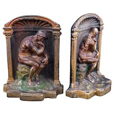 Bronze colorized cast bookends of the Thinker circa 1925