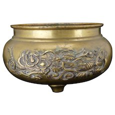 Japanese round brass censer with tripod legs and dragon motif early 20th century