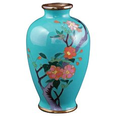 Japanese miniature cloisonné vase with cherry blossoms early 20th century