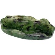 Chinese blue green jade brush wash in the shape of a lotus leaf 19th/20th century