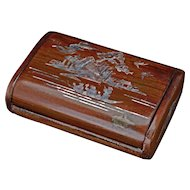 Vintage Chinese hardwood mother of pearl inlaid hinged cigarette box 20th century