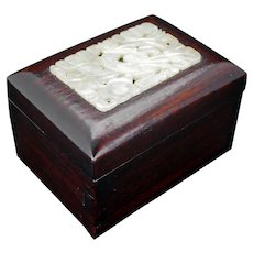 Vintage Chinese hardwood lidded box with carved jade panel early 20th C