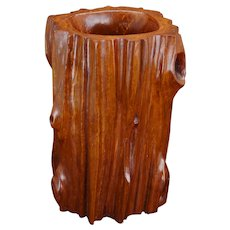 Chinese naturalistic carved rosewood brush pot bitong 20th century