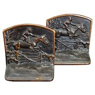 Fox Chase pair of iron bookends by Hubley circa 1925
