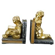 Chinese Students by Ronson metal bookends circa 1930