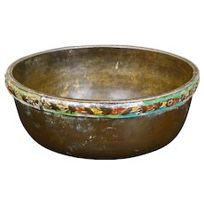 Chinese bronze censer with enameled, repousse band circa 1900