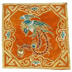 Chinese embroidered square with gilt thread of a phoenix early 20th century