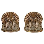 Siam Couple heavy cast iron bookends with copper finish circa 1926