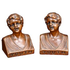Pair of Weidlich Brothers Manufacturing U.S.A. bookends called Youth circa 1930