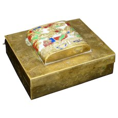 Chinese brass lidded box with enameled design of a dragon circa 1900