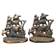 English Galleon iron bookends Connecticut Foundry 1928
